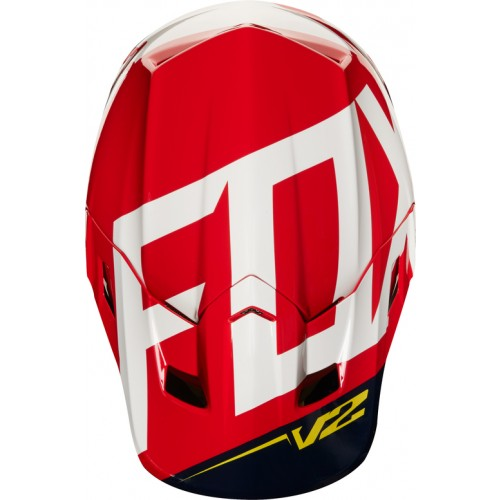 FOX Adult V2 Preme Helmet Navy/Red 2018