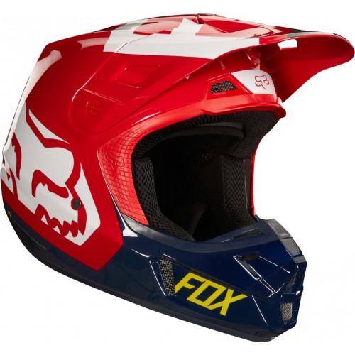 FOX Adult V2 Preme Helmet Navy/Red 2018